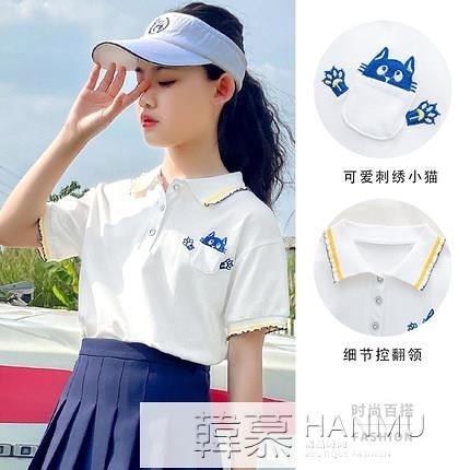 女童白色polo衫短袖2021夏天新款兒童寬鬆洋氣體恤中大童夏季T恤 4.4超級品牌日