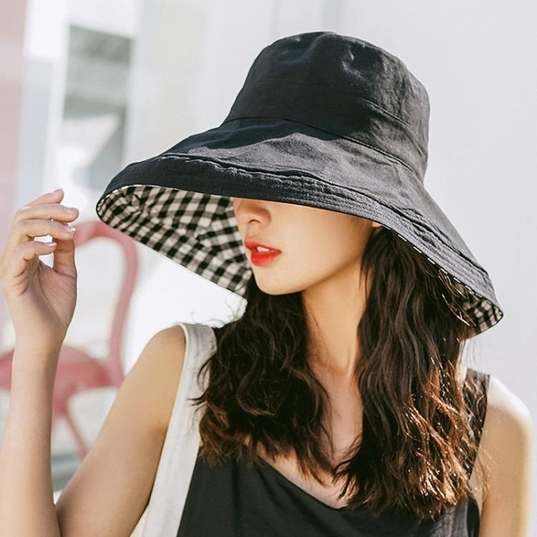 牛仔帽漁夫帽防曬太陽帽女夏天日系雙面格子出游百搭遮陽韓版遮臉大沿帽 漫步雲端