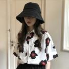 港風花襯衫女夏季2021年新款短袖襯衣復古港味chic法式小眾上衣服