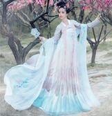 日常改良漢服菩提雪飄逸古裝公主大擺刺繡齊胸襦裙清新淡雅仙女服