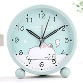 時鐘 學生用兒童電子夜光卡通可愛小鬧鐘簡約鬧鈴創意床頭靜音鐘表時鐘 卡洛琳