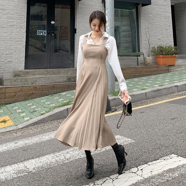背心裙.氣質收腰綁帶後百褶無袖長版洋裝.白鳥麗子