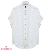【SHOWCASE】蕾絲前襟珍珠微皺寬版雪紡襯衫(白)