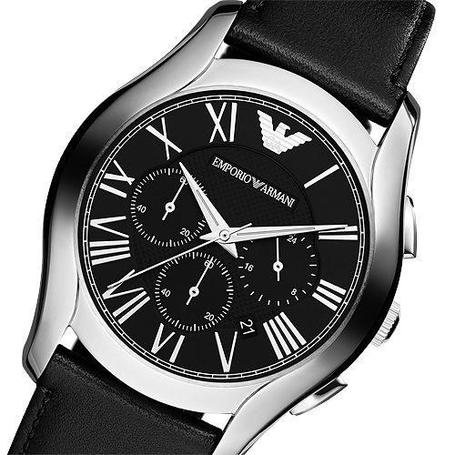 Emporio Armani 亞曼尼 羅馬時尚三眼計時手錶-黑 AR1700