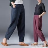新款女裝秋季棉麻褲女燈籠褲寬鬆女褲闊腿哈倫褲子九分哈倫褲 錢夫人