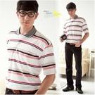 【大盤大】(P81671) 夏 男 短袖 橫條紋 口袋POLO衫 薄上衣 舒適棉衫 休閒衫 父親節【剩M和L號】