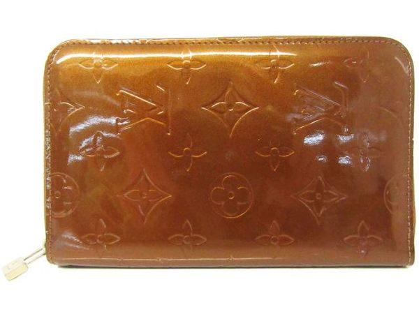 【特價20%OFF】LV LOUIS VUITTON古銅色亮面漆皮ㄇ字拉鍊中夾 M91127 【BRAND OFF】
