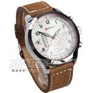 CURREN 逆跳造型潮流皮革腕錶 男錶 學生錶 數字錶 白x卡其 防水手錶 CU8152白卡