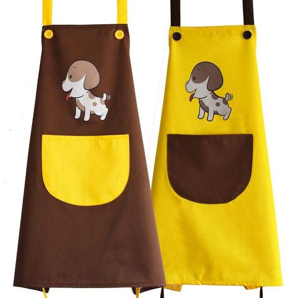 可愛卡通情侶圍裙時尚防水防油廚房男女餐廳工作服