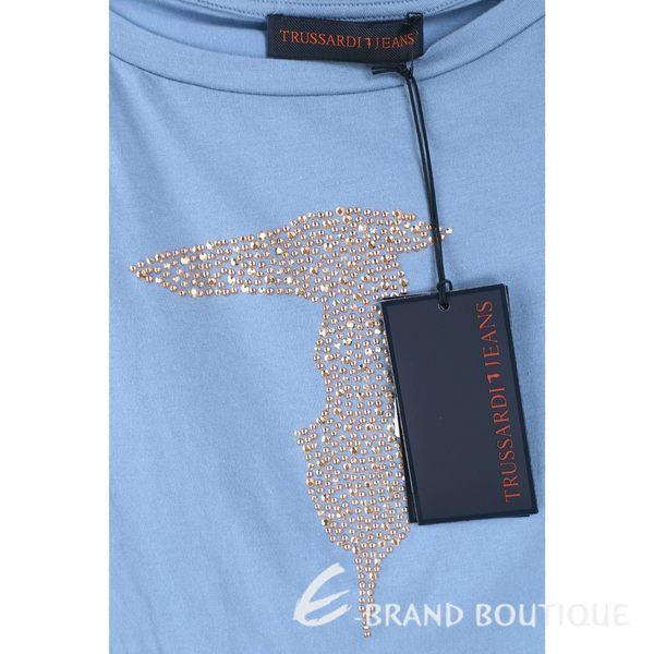 TRUSSARDI 藍灰色品牌LOGO貼飾棉質短袖T恤 1620446-59