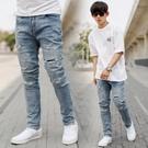 牛仔褲 韓國製割破造型抽鬚無破補丁合身版牛仔褲【NB1026J】