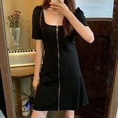 方領短裙收腰連身裙大碼女裝女夏寬鬆【聚物優品】