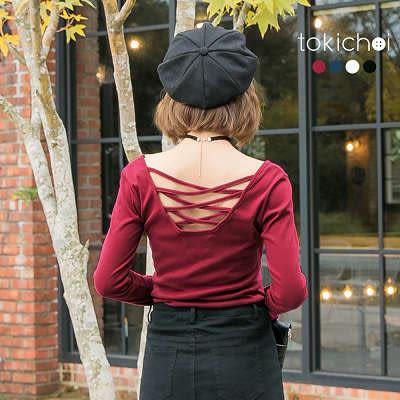 東京著衣-多色美背交叉織帶上衣-S.M(172530)