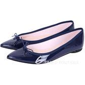 Repetto Brigitte 蝴蝶結飾漆皮尖頭平底鞋(深藍色) 1541071-34