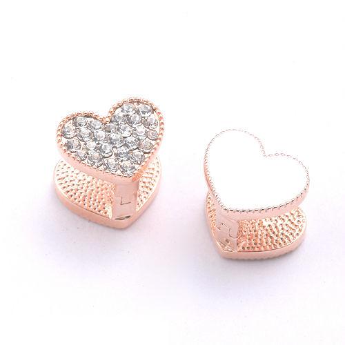 Sassy Ones時尚飾品 - 亮采琺瑯系列 鑲鑽愛心雙面雙色造型耳環-玫瑰金色+純白色琺瑯