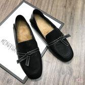 (低價促銷)網紅毛毛單鞋女新品秋冬蝴蝶結平底英倫范兩穿正韓樂福鞋女鞋