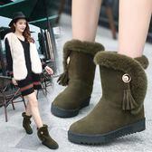 店長推薦增高女鞋2019新款冬季短筒靴子女短靴保暖加絨雪地靴棉鞋中筒靴潮
