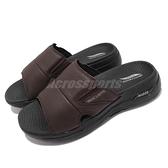 Skechers 拖鞋 Go Walk Arch Fit Sandal Ultra Span 黑 咖啡 皮革 舒適 男鞋【ACS】 229023BRN