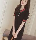 韓款學院風polo織邊翻領休閒寬鬆顯瘦洋裝 (黑  白) 11850072