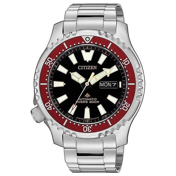 【台南 時代鐘錶 CITIZEN】星辰 PROMASTER 200米專業潛水錶 機械錶 亞洲限定款 紅水鬼 NY0091-83E 42mm