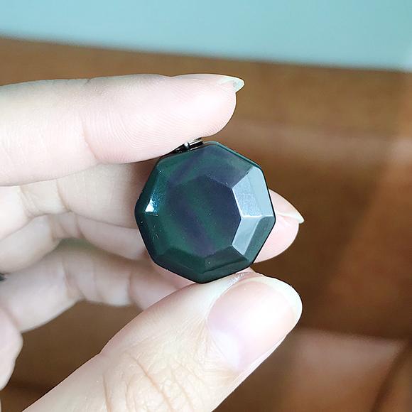 『晶鑽水晶』天然黑曜石 八卦形墜子 20mm 特殊造型 可加購鍊子 避邪擋煞 保平安