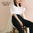 Queen Shop【01096541】澎袖壓線素面V領上衣 兩色售*現+預*