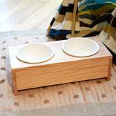 木貓食盆陶瓷雙碗貓咪架子餐桌防滑泰迪中小型寵物用品 森雅誠品
