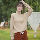 針織毛衣新款秋冬高領字母寬鬆套頭毛衣女針織衫內搭洋氣打底衫 【2021新年鉅惠】