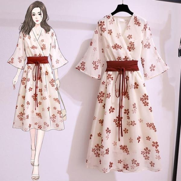 旗袍 雪紡碎花洋裝女夏新款漢服旗袍改良版復古流行和服裙子