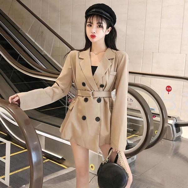 秋裝2021年新款時尚百搭西裝設計感收腰綁帶氣質休閒雙排扣外套潮 童趣屋 免運