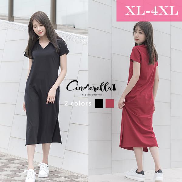 大碼仙杜拉-V領休閒長版短袖棉質連身裙/洋裝 XL-6XL碼 ❤ 【CIR1692】(預購)