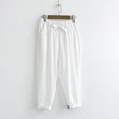 現 〃《貓尾巴》LZ-02229 簡約百搭寬鬆抽繩九分褲(森林系 日系 棉麻 文青 清新)