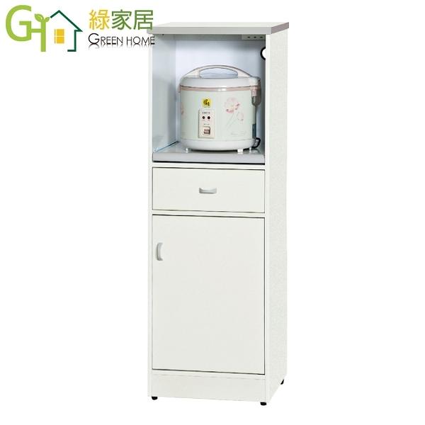 【綠家居】波仕 環保1.5尺南亞塑鋼單門單抽層架中餐櫃/收納櫃