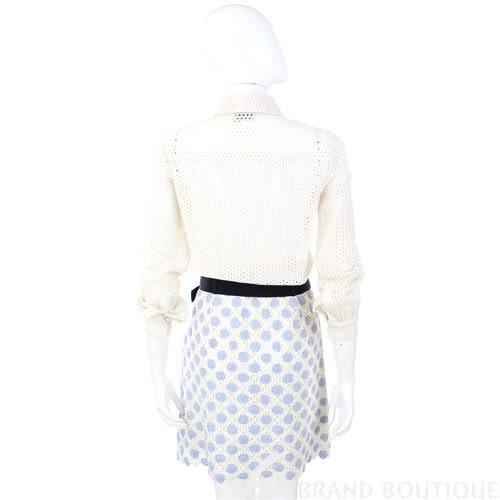 MOSCHINO 米色洞洞拼接圓點長袖洋裝(附腰帶) 1310690-40