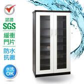 IHouse-SGS 防潮抗蟲蛀緩衝塑鋼雙開門鞋櫃胡桃