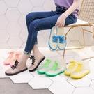 透明可愛成人短筒雨鞋女 防水鞋防滑膠鞋套鞋 韓國時尚款外穿雨靴夏‧防水
