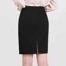 黑色夏職業裙半身裙女一步包臀短裙包裙西裝裙工作裙秋冬正裝裙子