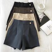 顯瘦氣質純色a字西裝寬管褲女2021春季新品韓版外搭簡約高腰短褲 幸福第一站