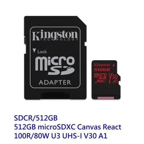 金士頓 手機用記憶卡 【SDCR/512GB】 512G Micro SD XC U3 100R/80W 新風尚潮流