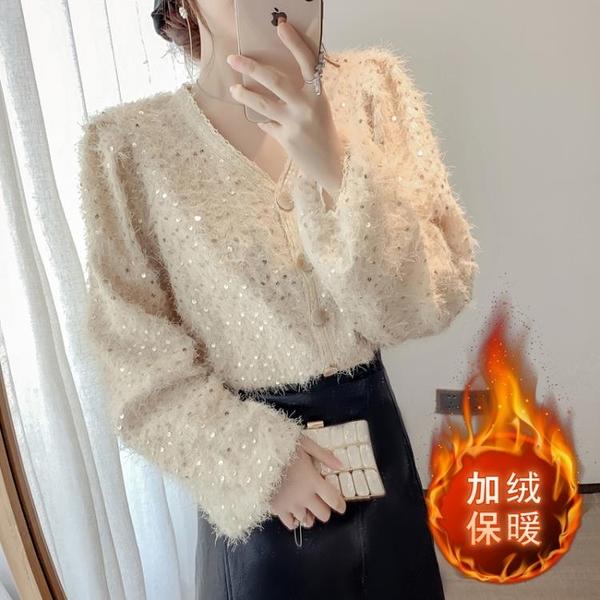清倉特價 加絨襯衫女秋冬氣質內搭新款v領打底衫保暖洋氣高端蕾絲上衣