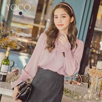 東京著衣【YOCO】微甜日常小立領抽皺荷葉袖上衣-S.M.L(172458)
