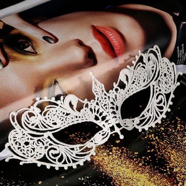 化妝舞會性感白色蕾絲面具party頭飾派對情趣鏤空成人女半臉眼罩【雙12超低價狂促】