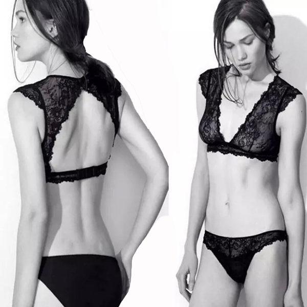 全蕾丝背心式后镂空透明女士内衣套装胸罩-1236003