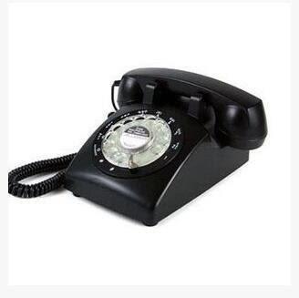 老式轉盤復古電話機 旋轉盤仿古電話機 歐式旋轉撥號盤座機【307黑】