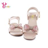 精品兒童涼鞋 女童涼鞋 休閒涼鞋 氣質 水鑽蝴蝶結 J6530#粉紅◆OSOME奧森鞋業