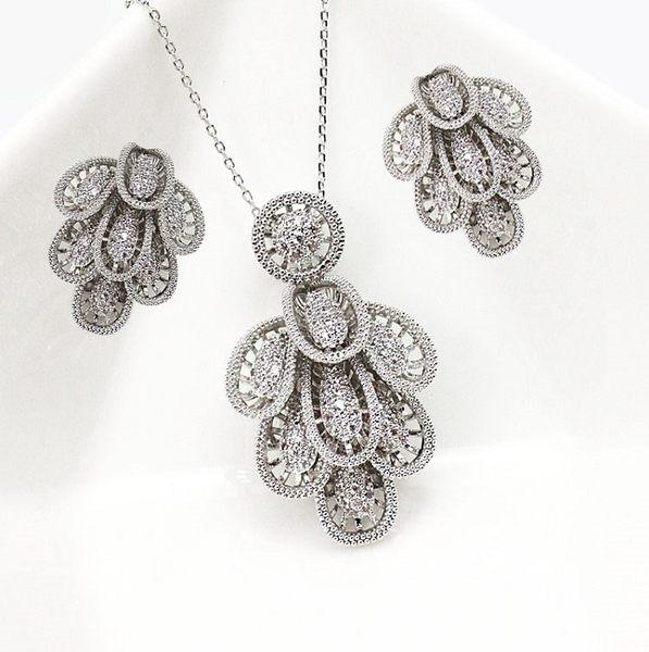 精品套裝 氣質高雅S925純銀滿鑲鋯石項鍊加耳環 18K真白金 (0630)