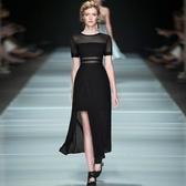 洋裝-短袖性感透視網紗開岔連身裙2色73ta12【時尚巴黎】