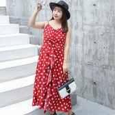 中大尺碼~波點甜美A字版型短袖連衣裙(XL~4XL)