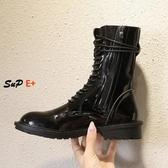 中筒靴 短靴 馬丁靴 英倫風 黑色 機車靴 厚底短靴