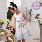 【南紡購物中心】【Annys安妮公主】緞帶蝴蝶結裙襬滾邊春夏款無袖正式洋裝1122 白色08